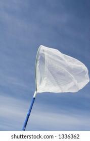 butterfly net over blue sky