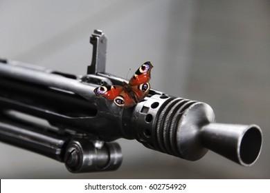 Butterfly on a machinegun