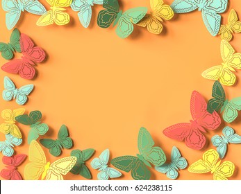 Butterfly paper cutout background. 3d rendering
