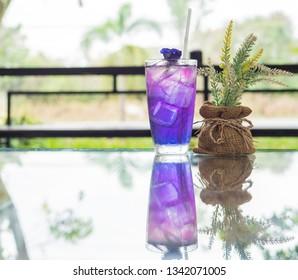 Butterfly pea or Blue pea flower herbal tea .