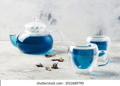 Butterfly pea flower blue tea. Healthy detox herbal drink