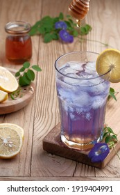 Butterfly pea flower tea with lemon and honey
