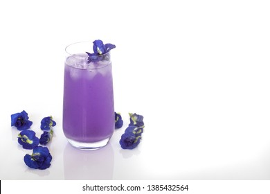 Butterfly pea juice or blue pea flower herbal tea for drink on white background