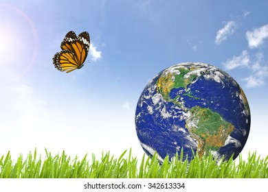 Butterfly and Planet Earth on beautiful green grass and sunny day with blue cloudy sky - Elements of this image furnished by NASA