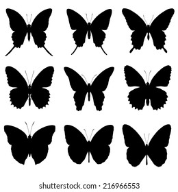 Butterfly silhouette set, butterfly icon collection, isolated on white background.