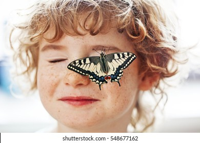 butterfly Swallowtail and curly hair blond boy with freckles, newborn butterfly and boy are friends, butterfly sits on the hair and on the child's face