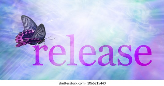 The Butterfly Symbolizes Release - a pink and black butterfly sitting on the word RELEASE gazing into  a bright white ethereal light surrounded by purple blue and green flowing energy