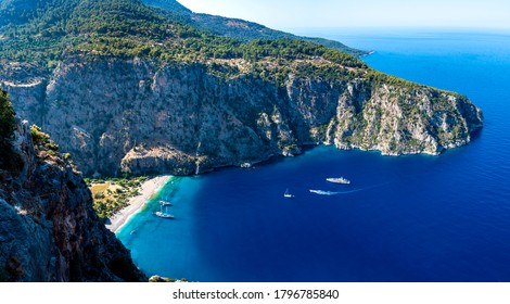 Butterfly Valley ( Kelebekler Vadisi ) view in Fethiye Town of Turkey