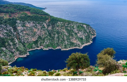 Butterfly Valley, Oludeniz, Fethiye, Mugla, Turkey.  Lycian way. Summer and holiday concept. (Kelebekler Vadisi) Panoramic view.