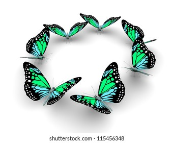 Butterflys isolated on white. 3d illustration.