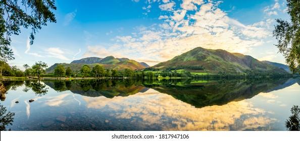 Buttermere lake panorama at sunrise. Lake District. England