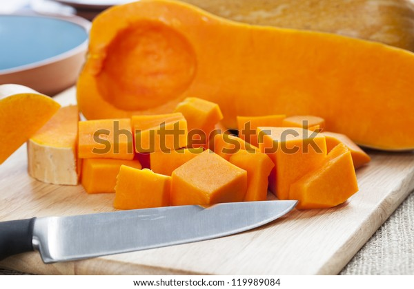Butternut squash, cut into cubes and ready for cooking