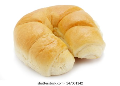 Buttery croissant on white background