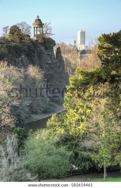 The Buttes-Chaumont Park with the Sybille Temple in the north-east of Paris
