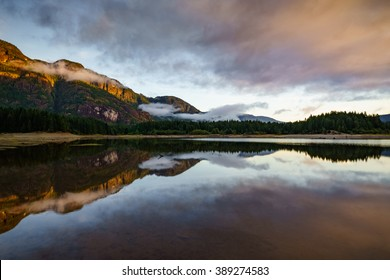 Buttle Lake, Strathcona Provincial Park, Campbell River, British Columbia, Vancouver Island, Canada, Natural and Peaceful Sunrise