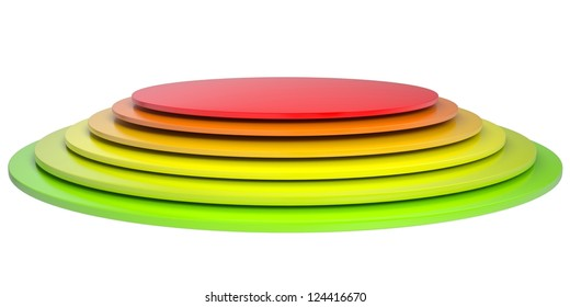 Button of colored discs. Isolated render on a white background