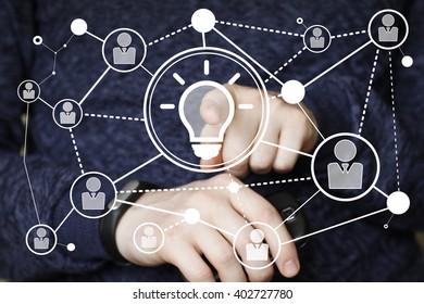 Button idea bulb business communication people