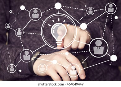 Button idea bulb business communication people network.