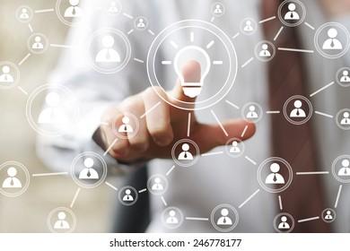 Button idea bulb business icon web communication online sign