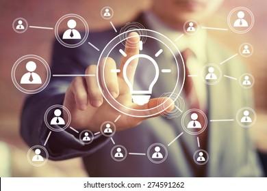 Button idea bulb business web icon communication
