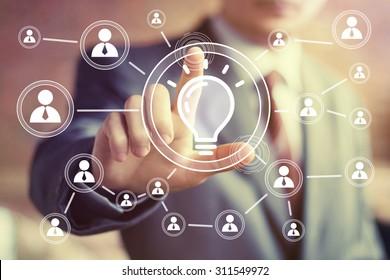 Button idea bulb business web sign communication