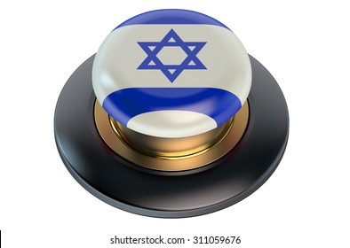 Button with Israel flag isolated on white background