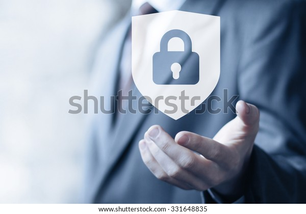 Button locked shield security virus icon business online