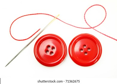 button with needle and thread vector illustration, isolated on white background