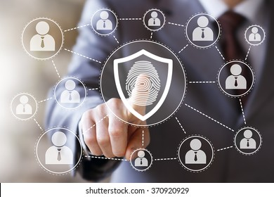 Button shield web security virus fingerprint print online business
