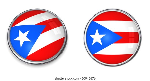 button style banner in 3D of Puerto Rico