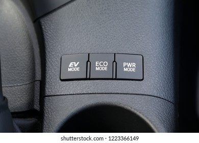 Button switch mode, power, eco and ev in hybrid car.