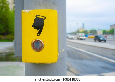 button of turning on of the pedestrian traffic light