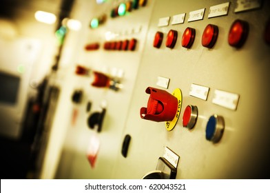 Buttons and control switches aboard modern dynamic positioning offshore vessel