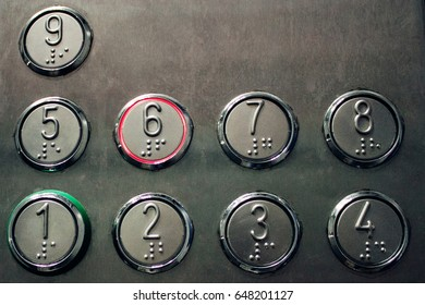 Buttons in the elevator.