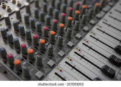 Buttons equipment for sound mixer control. Music Studio