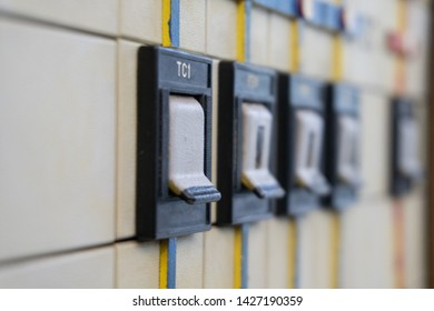 Buttons of the Mnemonic scheme or control panel of the power circuit of subway, close-up