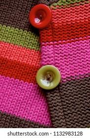 buttons on woolen texture
