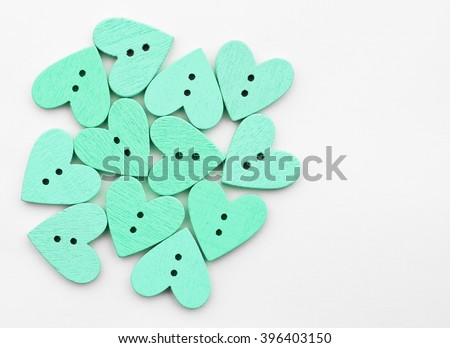 Buttons Wooden Heart Shaped Love On Stock Photo (Edit Now