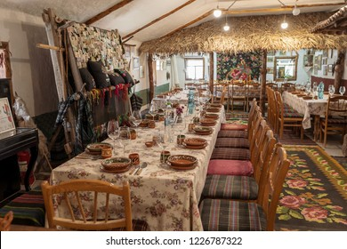 Butuceni, Moldova - November 2018: Traditional Moldavian house interior inside an old house in Old Orhei region of Moldova Republic