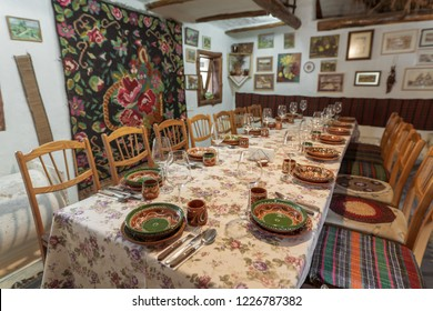 Butuceni, Moldova - November 2018: Traditional Moldavian Restaurant inside an old house in Old Orhei region of Moldova Republic