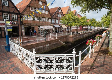 BUXTEHUDE, GERMANY - AUGUST 30  2018: At Fleth is a canal after the Dutch model.