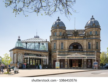 BUXTON DERBYSHIRE - MAY 7th 2018: The Buxton Opera House in Buxton Derbyshire, One of the finest examples of Frank Matcham theatre design. UK MAY 7th, 2018