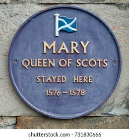 BUXTON, DERBYSHIRE, UK - JULY 07 2011: Plaque to commemorate Mary Queen of Scots stay in Buxton
