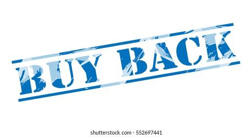buy back blue stamp on white background