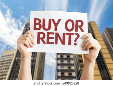 Buy or Rent? card with a urban background