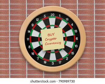 Buy crypto currency sticky note on bullseye dartboard background
