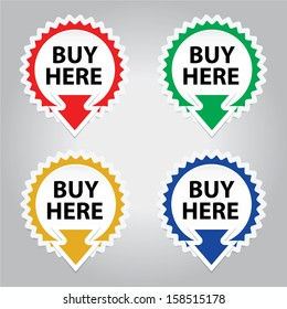 Buy Here button, icon, sticker or symbols for business - jpeg format.