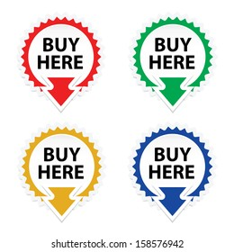 Buy Here button, icon, sticker or symbols on white background - jpeg format.