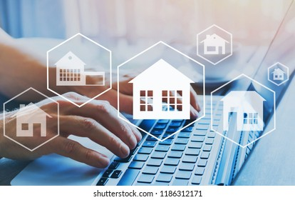 buy house, real estate concept, different offers of property online, hands typing on computer as background