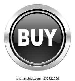 buy icon, black chrome button